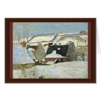 Breton Village In The Snow By Gauguin Paul Card