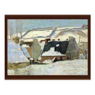 Breton Village In The Snow By Gauguin Paul Postcards