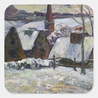 Breton village under snow, 1894 square sticker