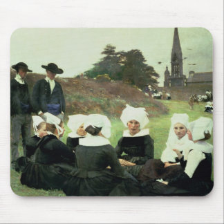 Breton Women Sitting at a Pardon Mouse Pads