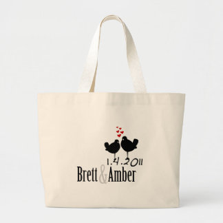 Brett & Amber Custom Wedding Logo Large Tote Bag