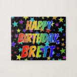 "[ Thumbnail: ""Brett"" First Name, Fun ""Happy Birthday"" Jigsaw Puzzle ]"