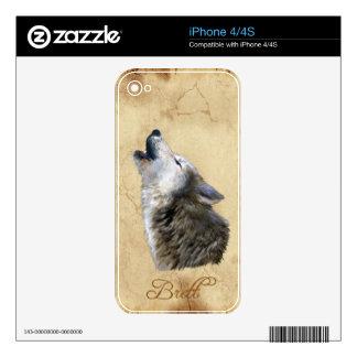 BRETT Howling Grey Wolf Wildlife iPhone 4 Skin