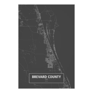 Brevard County, Florida (white on black) Poster