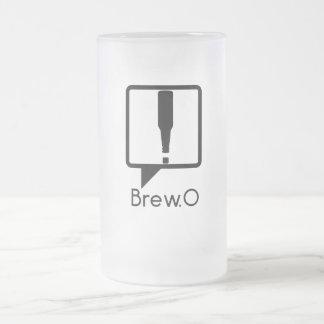 Brew.0 Outline Logo 16 Oz Frosted Glass Beer Mug