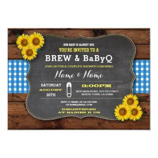 Brew and BABYQ Baby Shower Blue Sunflower Card
