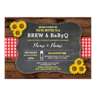 Brew and BABYQ Baby Shower Red Sunflower Card