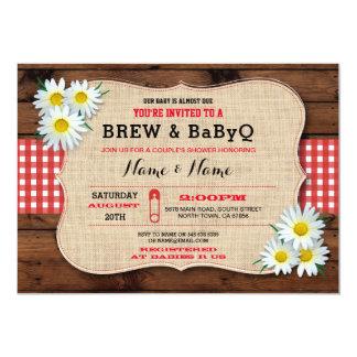 Brew and BABYQ Baby Shower Red Sunflower Invite