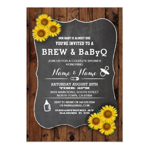 Brew and BABYQ Baby Shower Wood Sunflower Invite