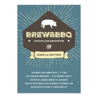 Brew & BBQ | Rustic Couples Wedding Shower 5x7 Paper Invitation Card
