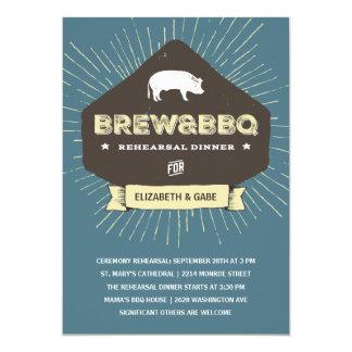 Brew & BBQ | Rustic Rehearsal Dinner Card
