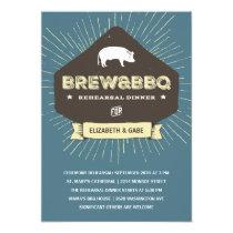 Brew & BBQ   Rustic Rehearsal Dinner Invitation
