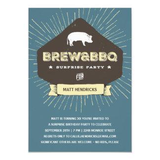 Brew & BBQ   Surprise Birthday Party Card