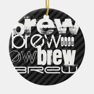 Brew; Black & Dark Gray Stripes Double-Sided Ceramic Round Christmas Ornament