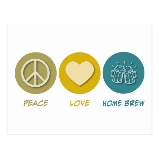 Brew casero del amor de la paz postal