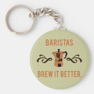 Brew de Baristas él mejor Llavero Personalizado