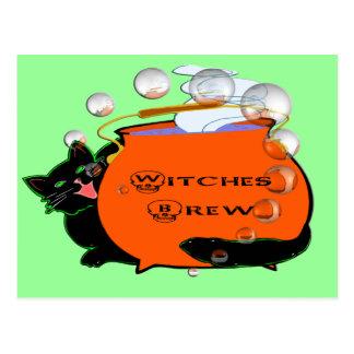 Brew de las brujas del gato negro tarjetas postales