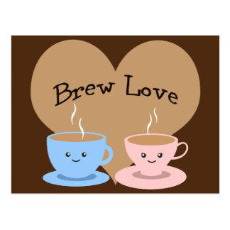 Brew Love! Coffee Mugs Postcard