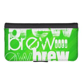 Brew; Neon Green Stripes iPhone 5 Wallet Case