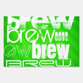 Brew; Neon Green Stripes Lawn Sign