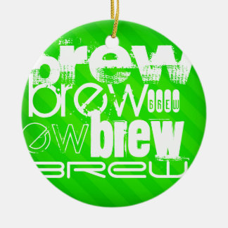 Brew; Neon Green Stripes Double-Sided Ceramic Round Christmas Ornament