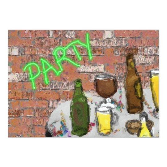 Brew Pub Watercolor Beer Tasting Party Invitation – Beer Tasting Party Invitations