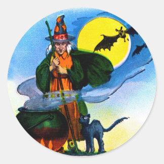 Brew retro de las brujas de Halloween del kitsch Pegatina Redonda