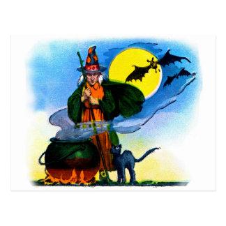Brew retro de las brujas de Halloween del kitsch Tarjeta Postal