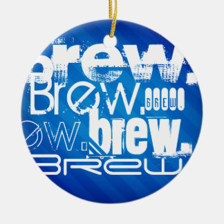 Brew, Royal Blue Stripes Double-Sided Ceramic Round Christmas Ornament