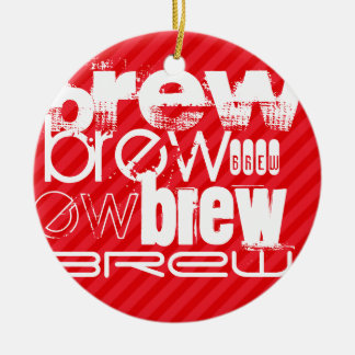 Brew; Scarlet Red Stripes Double-Sided Ceramic Round Christmas Ornament