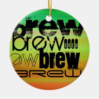 Brew; Vibrant Green, Orange, & Yellow Double-Sided Ceramic Round Christmas Ornament