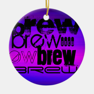 Brew; Vibrant Violet Blue and Magenta Double-Sided Ceramic Round Christmas Ornament