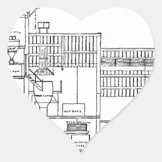 Brewery Blueprint Heart Sticker