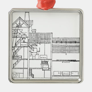 Brewery Blueprint Metal Ornament