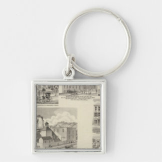 Brewery of Paul Reising, New Albany Silver-Colored Square Keychain