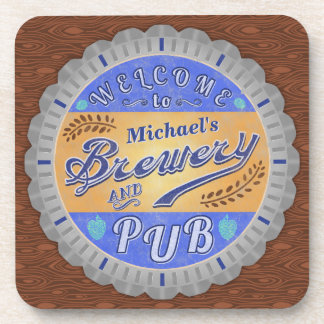 Brewery Pub Personalized Beer Bottle Cap Beverage Coaster