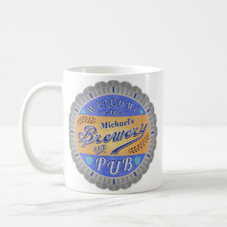 Brewery Pub Personalized Beer Bottle Cap Coffee Mug
