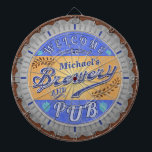 "Brewery Pub Personalized Beer Bottle Cap Dart Board<br><div class=""desc"">This design for your brewery and pub decor is made to look like a beer bottle cap. It says, &quot;Welcome to [Your Name] Brewery &amp; Pub.&quot; The text and design have a distressed, weathered look, to make the bottle cap image appear slightly antique. The design has a hops and barley...</div>"