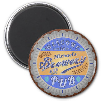 Brewery Pub Personalized Beer Bottle Cap Magnet