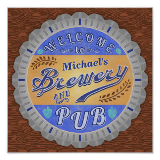 Brewery Pub Personalized Beer Bottle Cap Poster
