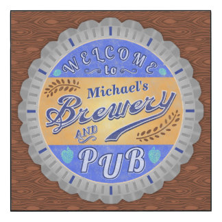 Brewery Pub Personalized Beer Bottle Cap Wood Print