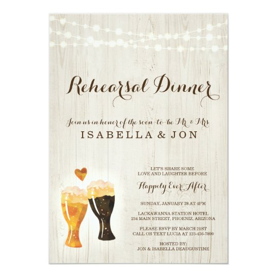 Brewery Rehearsal Dinner Invitation Rustic Beer Zazzle Com