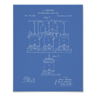 Brewing beer and ale 1873 Patent Art - Blueprint Poster