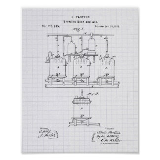 Brewing beer and ale 1873 Patent Art - Lined Peper Poster