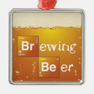 Brewing Beer Square Metal Christmas Ornament