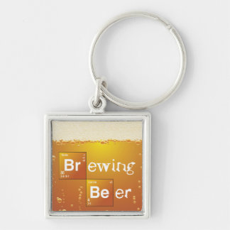 Brewing Beer Silver-Colored Square Keychain
