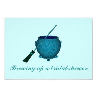 """Brewing Up a Bridal Shower"" - Broom & Cauldron 3.5"" X 5"" Invitation Card"