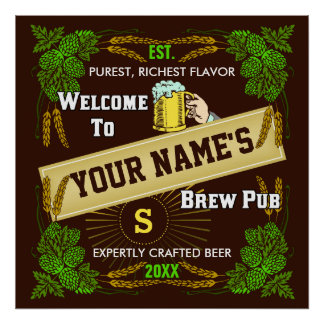 Brewpub / Beer Welcome Sign Personalized Posters