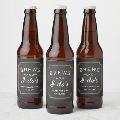 Brews and I Do's Chalkboard Wedding Beer Bottle Label