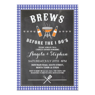 Brews Before The I Do's Blue Engagement Invite